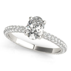 oval engagement ring with oval cut diamond center stone